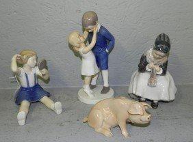 (4) Danish Porcelain Figurines.