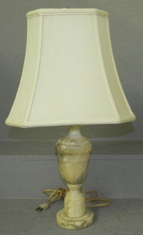 "Carved Alabaster Lamp. 22"" Tall."