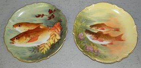 "(2) French Fish Plates. 10 1/2"" Diameter"
