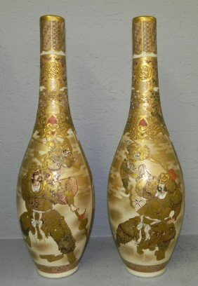 "Pair Of Early Satsuma Wine Vases. 18 1/2"" Tall."