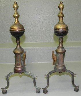 Pair Of 18th Century Brass Andirons.