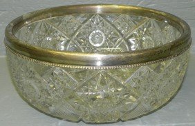 Brilliant Cut Glass Bowl With Sterling Rim.