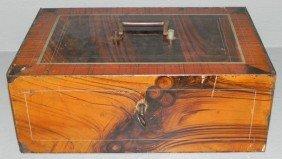 Grain Painted Iron Lock Box.
