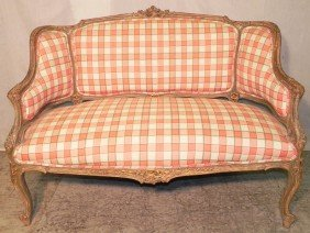 Carved French Fruitwood Settee.