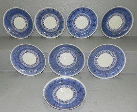 8 Blue & White Oriental Plates,.