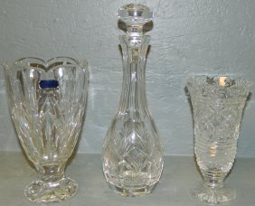 2 Waterford Vases And Waterford Decanter.
