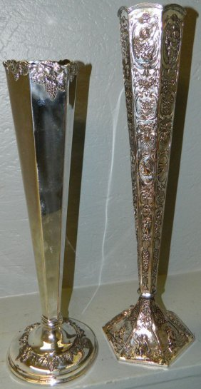 """Pair Silver On Copper Vases 16"""" And 19"""" Tall"""