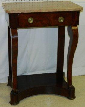 19th C. Mahogany Empire Marble Top Pier Table.