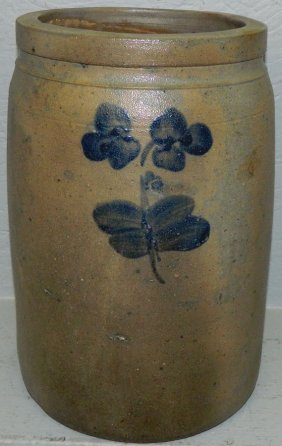 Blue Decorated Stoneware Crock.