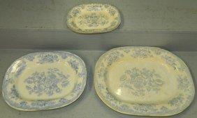 """3 19th C.""""asiatic Pheasant"""" Transferware Platters."""