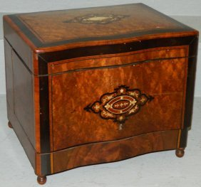 Marquetry Inlaid Burl Walnut Full Tantalus Set.