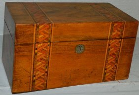 19th C. Marquetry Inlaid Mahogany Tea Caddy.