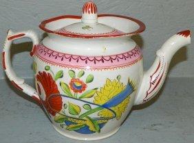 19th C. Queens Rose Pearlware Tea Pot.