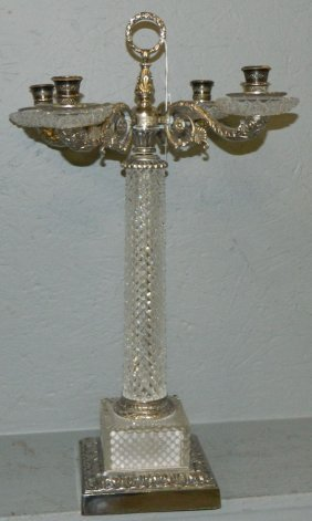 Cut Glass And Silver Plate 4 Light Candelabra.