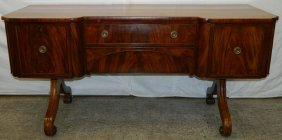Mahog. Regency Sideboard W/ Unusual Base
