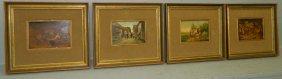 4 Miniature German Or Dutch Paintings