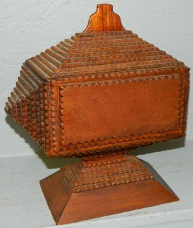 Tramp Art Covered Box With Lid On Pedestal Base.