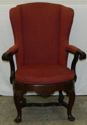 Queen Anne Open Arm Wing Chair.