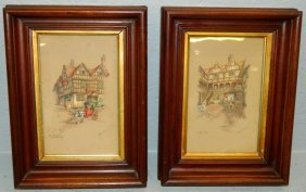 Pair Of Walnut Framed Clyde Gale Coaching Prints.