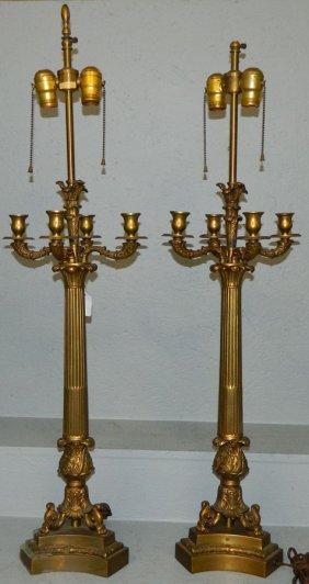Pr. Warren Kessler Ny Empire Bronze Lamps.