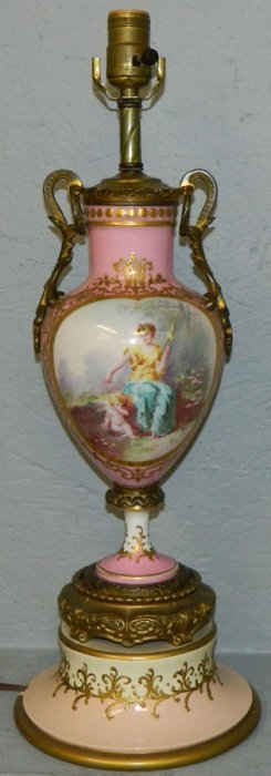 Sevres Type Portrait Lamp With Bronze Mounts.