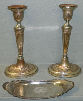 Signed Pr. Early Sheffield Candlesticks& Pin Tray.