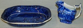 Historical English Dark Blue Bowl &cream Pitcher