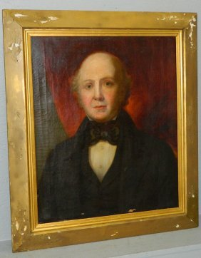 19th C Portrait Oil Painting Of Gentleman.