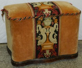 Lift Top Edwardian Tapestry Covered Bench.