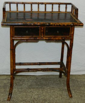 Oriental 19th C. Bamboo Lacquered Writing Table.