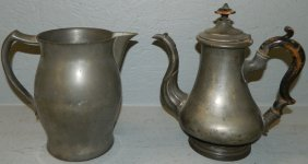 Pewter Tea Pot And Water Pitcher.