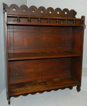 Victorian Era Walnut Hanging Double Shelf Cabinet
