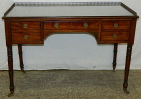 19th C. Regency Style Glass Top Writing Table