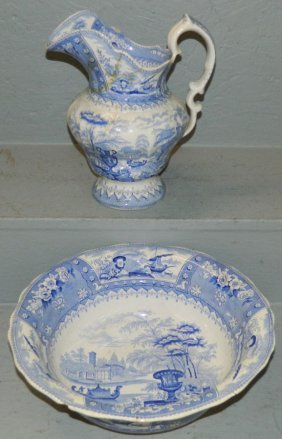 Early Blue & White Transfer Bowl & (as Is) Pitcher.