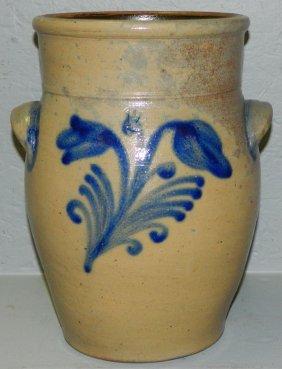 Blue Bird Decorated Crock.