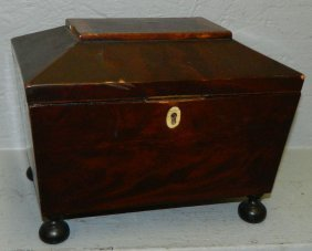 Banded Top Mahogany Tea Caddy