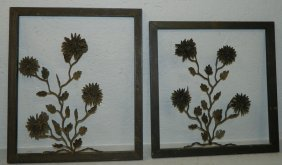 Pair Of Framed Tramp Art Wrought Iron Flowers.