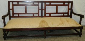 Antique English Settle With Lattice Work Back.