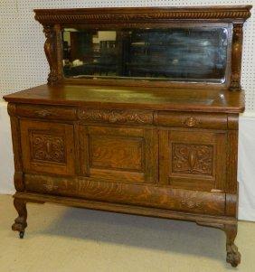 19th C. Amer. Gryphon Carved Oak Sideboard.
