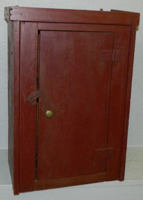 Primitive Painted One Door Hanging Cupboard.