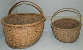 2 Primitive Split Oak Round Woven Baskets.