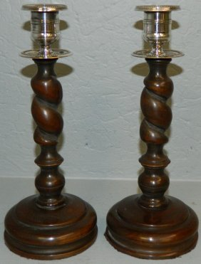 Pair Of Barley Twist Mahogany Candle Sticks.
