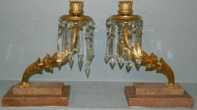 Pair Of Gilt Bronze Signed Arm Girandoles.