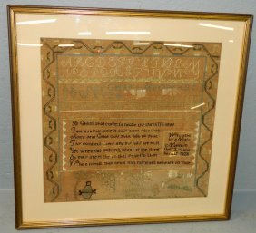 Needlepoint Sampler By Mary Merrin Dated 1828.