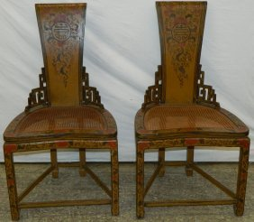 Pair Of Chinese Paint Decorated Cane Seat Chairs