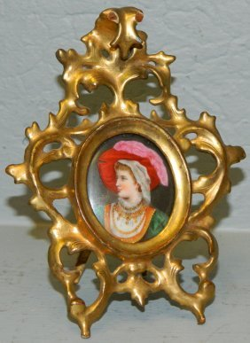 Min. Signed Portrait On Porcelain Of Lady .