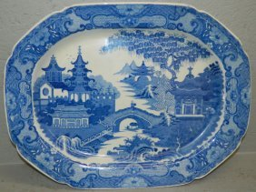 Early Transfer Blue And White Staffordshire Platter.