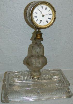 Egyptian Revival Clock On Desk Stand.