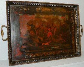 Tole Painted Tray With Hunt Scene.