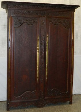18th C. Provincial French Oak Carved Wardrobe.